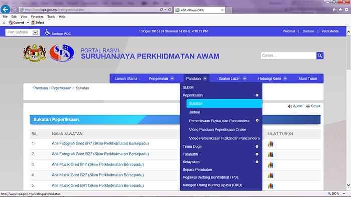 Suruhanjaya Perkhidmatan Awam Malaysia Sukatan Peperiksaan